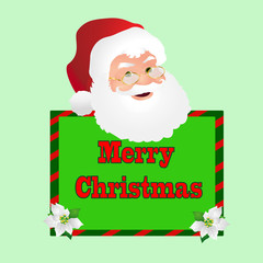 Santa Face Over a Green Merry Christmas Sign