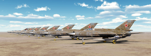 Soviet supersonic jet fighter aircrafts of the cold war