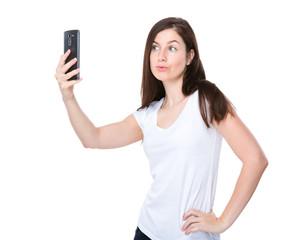 Beautiful Woman take selfie