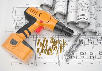 Electric screwdriver, fastening hardware, borers, scrolled