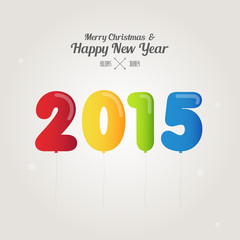 balloon number on merry christmas and happy new year 2015 concep