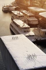 river port in winter