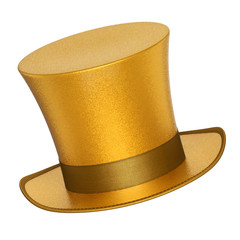 3D rendered golden decoration top hat with silver ribbon