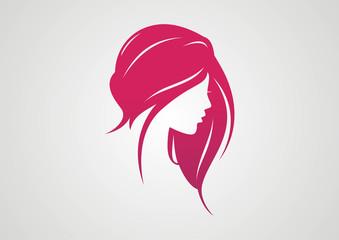 Woman Hair style Silhouette logo vector