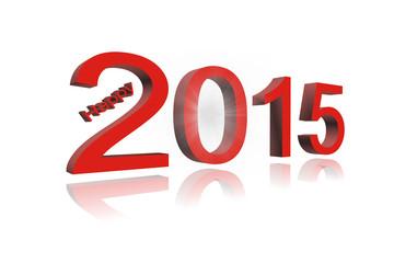 Happy 2015 3d sign