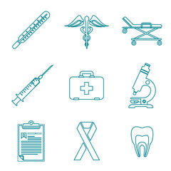 vector various dark blue outline medical icons on white