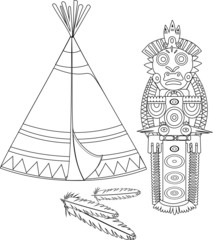 Coloring with an Indian teepee and totem poles