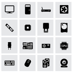 Vector black computer icon set