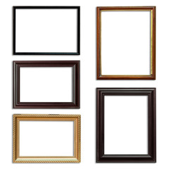 Frame picture set on isolated white background