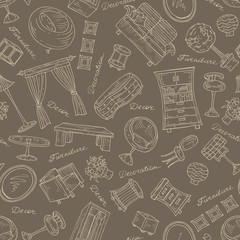Vector pattern with furniture for decoration in brown