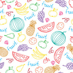 Vector pattern with hand drawn juicy fruit in white