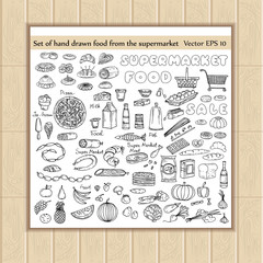 Vector set of hand drawn food from the supermarket