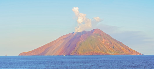 Island Stromboli by Tyrrhenian sea in Italy.