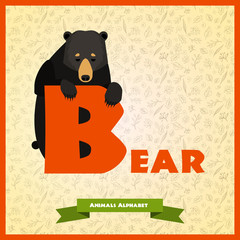 B letter with black bear behind.
