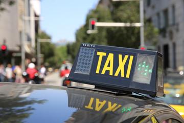 Taxi in Barcelona. Spanien
