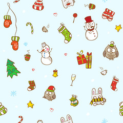 Vector christmas and new year seamless pattern