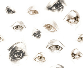 Human Eyes - seamles illustration. Hand drawings.
