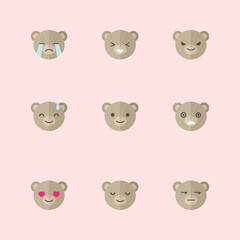 Vector minimalistic flat bear emotions icon set