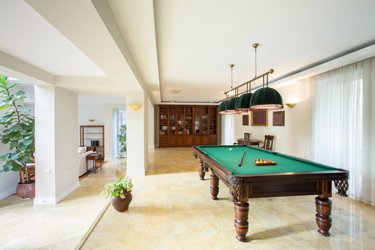 Billiard table in living room