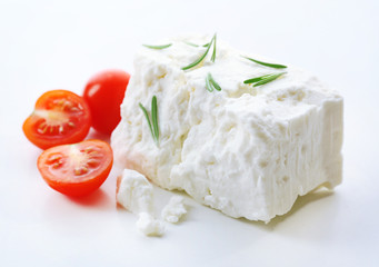 Feta cheese isolated on white