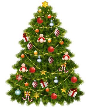 рождественская украшенная игрушками ель