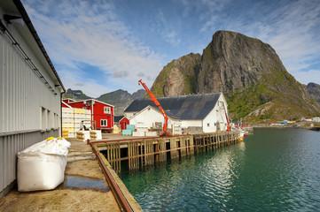 Wall Mural - Norwegia, przetwórnia ryb na lofotach
