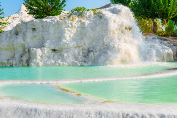 fountains and pools of water in Pamukkale