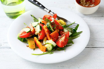 Salad with vegetables on a plate