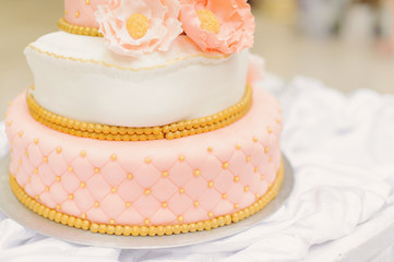 Cake with Flowers and Beads