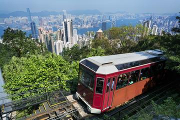 Foto op Plexiglas Hong-Kong The `Peak Tram` in Hong Kong.