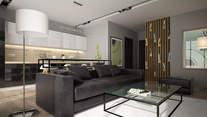 Modern interior with black sofa 3D rendering