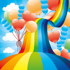 Rainbow and balloons.