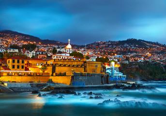 View of old castle Fortaleza de Sao Tiago. Funchal, Madeira, Por Fototapete
