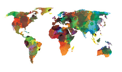 World map water color EPS 10 Vector