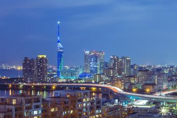 Twilight of Fukuoka cityscape in Kyushu, Japan. Wall mural