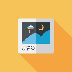 Space UFO photo flat icon with long shadow, eps10