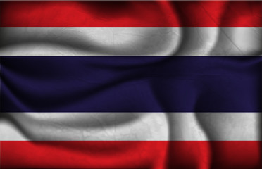 crumpled flag of Thailand on a light background