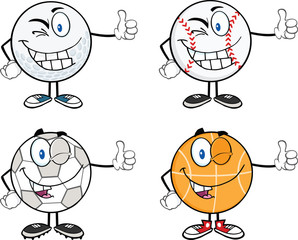 Sport Ball Cartoon Character Giving A Thumb Up. Collection Set