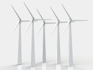 Wind turbines, 3d render