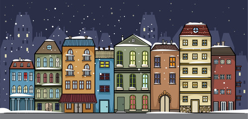 Set of colorful pretty buildings