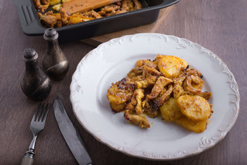 delicious dinner chicken with potatoes