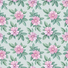 Watercolor pattern with wild rose illustrations