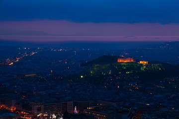 Parthenon temple and Acropolis of Athens at night