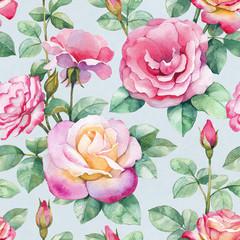 Watercolor rose flowers illustration. Seamless pattern