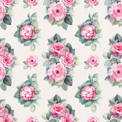 Watercolor wild rose flowers illustration. Seamless pattern