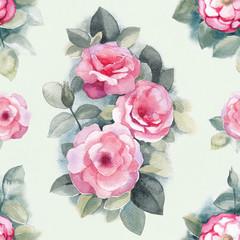 Watercolor wild rose flowers illustration. Seamless pattern