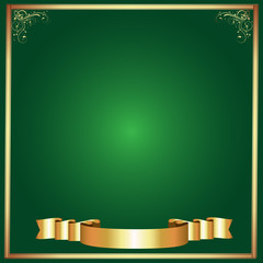 Frame-Green with Gold Abstract