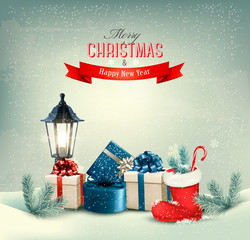 Holiday Christmas background with gift boxes and a boot. Vector.