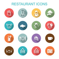 restaurant long shadow icons