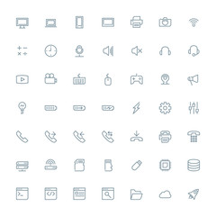 Thin line technology icons set